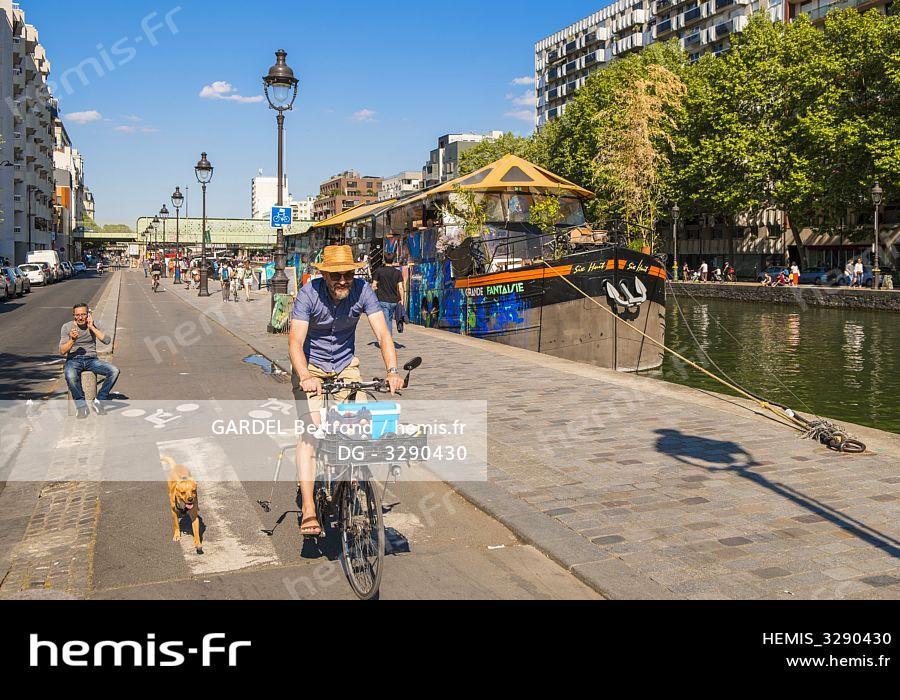 Hemis France Paris Canal Ourcq Quai Oise Piste Cyclable